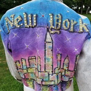 Jordache Jean Jacket Airbrushed NYC Skyline Acid